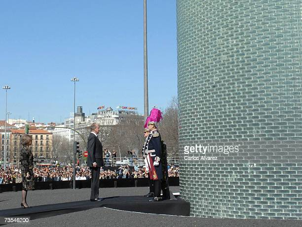 King Juan Carlos of Spain and Queen Sofia of Spain preside at the inauguration of the Monument in honour of 11 March 2004 Terrorists attacks in...