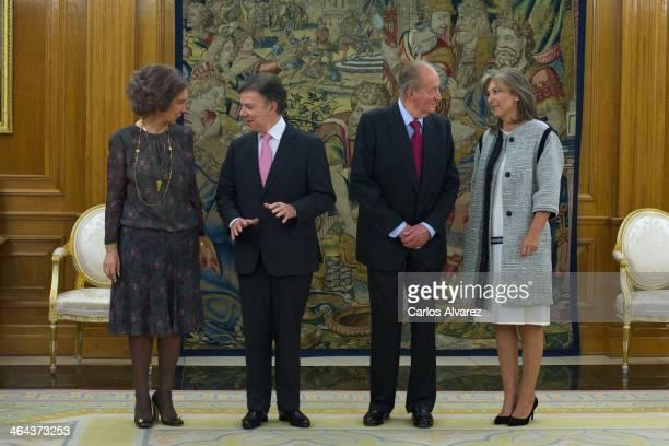 King Juan Carlos of Spain and Queen Sofia of Spain receive Colombia President Juan Manuel Santos Calderon and wife Maria Clemencia Rodriguez de...
