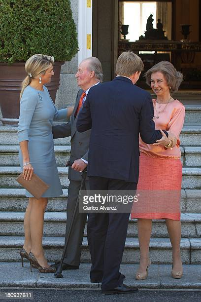 King Juan Carlos of Spain and Queen Sofia of Spain receive King WillemAlexander of The Netherlands and Queen Maxima of The Netherlands at Zarzuela...