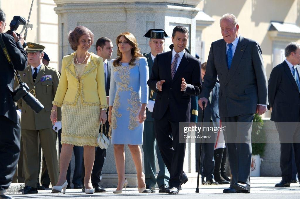 Spanish Royals Receive Mexican President Enrique Pena Nieto and Wife at El Pardo Palace