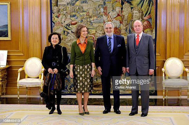 King Juan Carlos of Spain and Queen Sofia of Spain receive Placido Domingo and wife Marta Ornellas at Zarzuela Palace on January 19 2011 in Madrid...