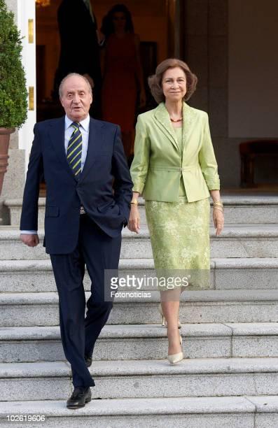 King Juan Carlos of Spain and Queen Sofia of Spain receive Syrian Arab Republic President Bashar alAssad and his wife Asma alAssad at Zarzuela Palace...