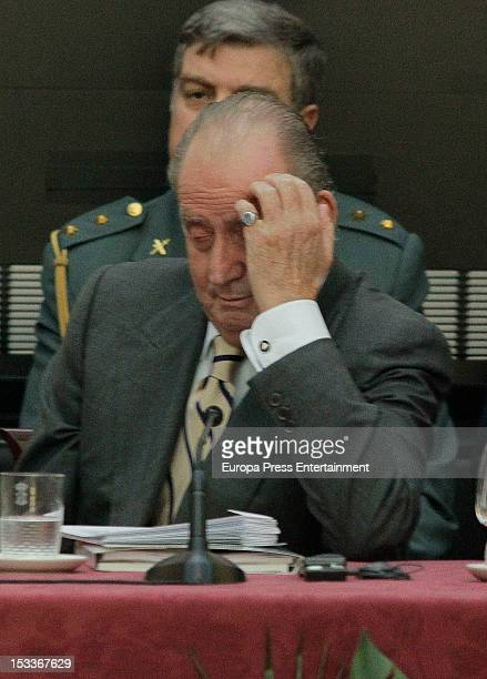 King Juan Carlos of Spain appears tired during COTEC Europa Meeting at Palacio El Pardo on October 3 2012 in Madrid Spain