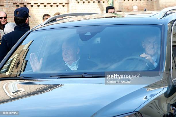 King Juan Carlos of Spain arrives at La Milagrosa Hospital on March 3 2013 in Madrid Spain King Juan Carlos of Spain goes under surgery for a lower...