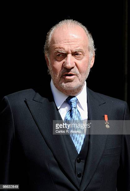 King Juan Carlos of Spain arrives at the Alcala de Henares University to attend the Cervantes prize ceremony to Mexican writer Jose Emilio Pacheco on...