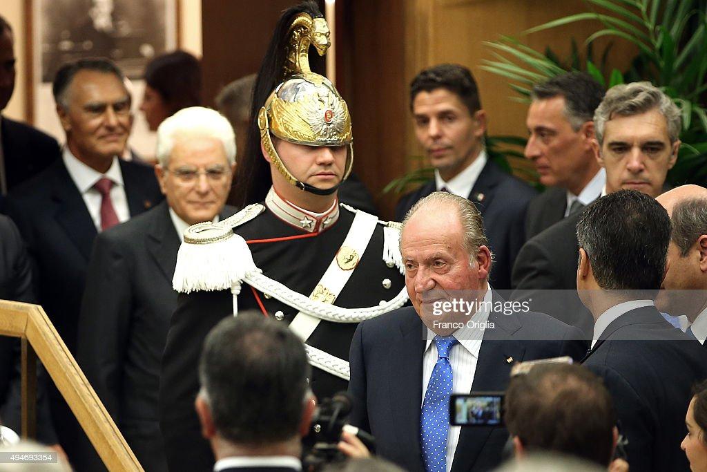 King Felipe VI of Spain And King Juan Carlos of Spain Attend The COTEC Meeting In Rome : News Photo