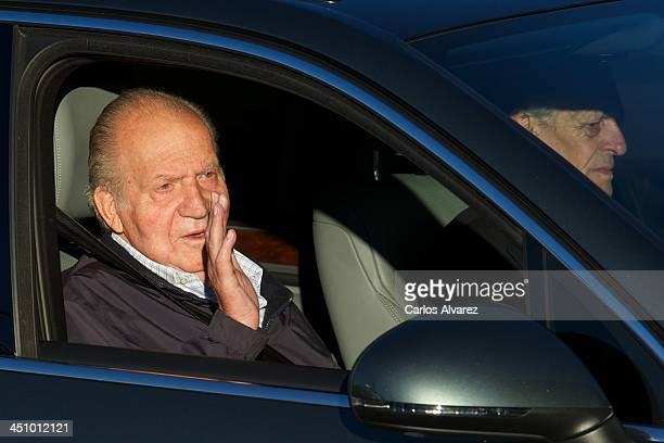 King Juan Carlos of Spain arrives at the Hospital Universitario Quiron on November 21, 2013 in Pozuelo de Alarcon, Spain. The Spanish King is set to...
