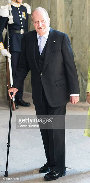King Juan Carlos of Spain arrives at the Royal Palace to attend Te Deum Thanksgiving Service to celebrate the 70th birthday of King Carl Gustaf of...