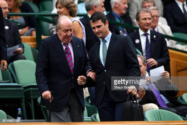 King Juan Carlos of Spain arrives in the centre court royal box prior to the Ladies Singles final between Venus Williams of The United States and...
