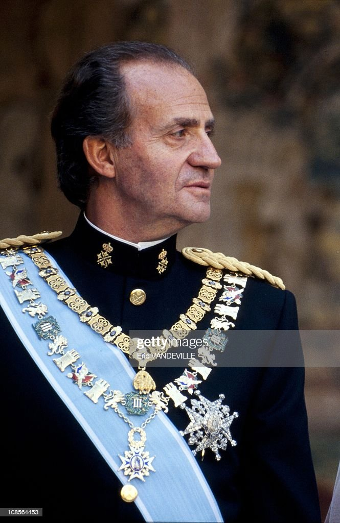 King Juan Carlos of Spain at the wedding of his daughter Princess Elena with Jaime de Marichalar in Seville, Spain on March 17th, 1995.