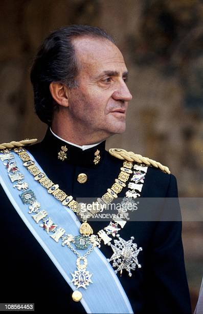 King Juan Carlos of Spain at the wedding of his daughter Princess Elena with Jaime de Marichalar in Seville Spain on March 17th 1995