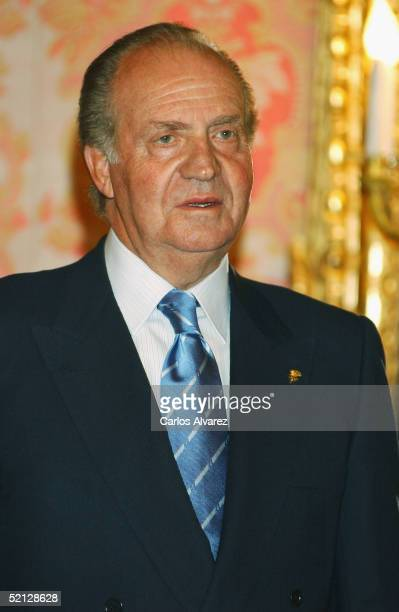King Juan Carlos of Spain attends a dinner with members of the IOC at the Royal Palace on February 3 2005 in Madrid Spain
