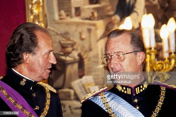 King Juan Carlos of Spain attends a gala evening in honor of and King Albert II of Belgium in Madrid Spain on September 19th 1994
