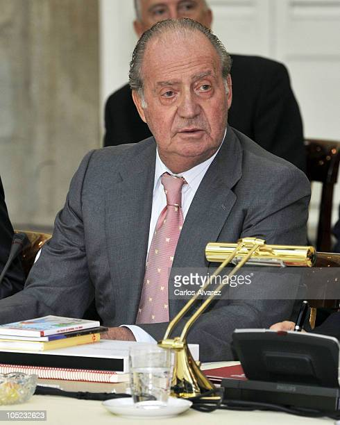 King Juan Carlos of Spain attends a meeting with Cervantes Institute team at the El Pardo Palace on October 13 2010 in Madrid Spain