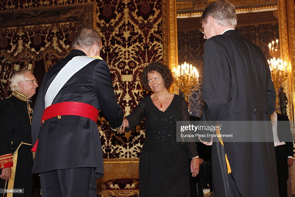 King Juan Carlos of Spain attends audiences to the diplomatic corps at Royal Palace on October 9, 2012 in Madrid, Spain.