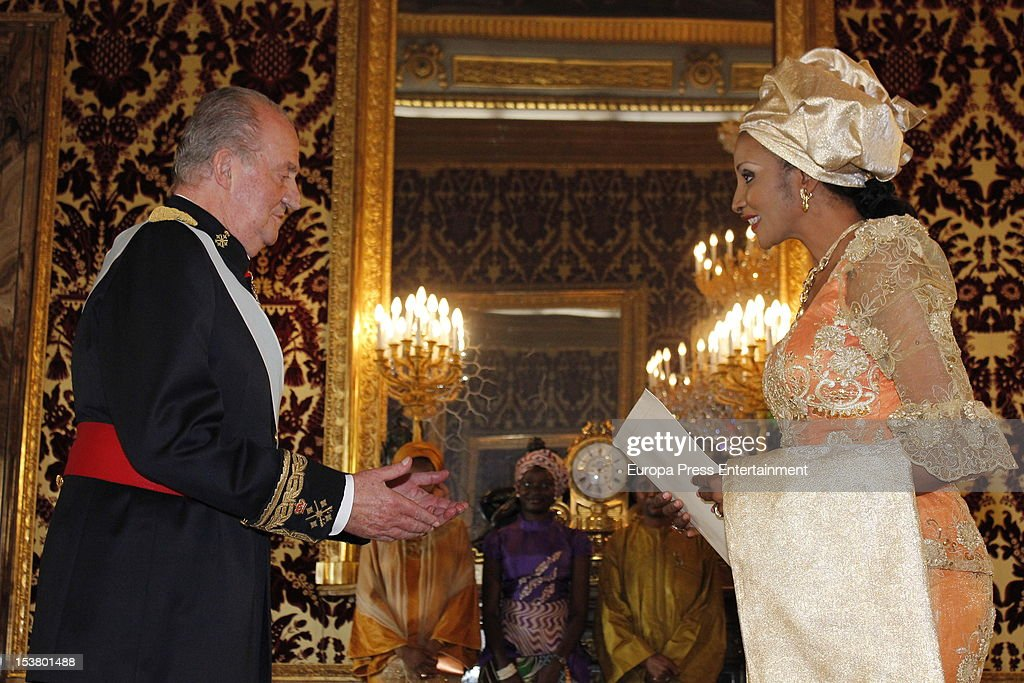King Juan Carlos of Spain attends audiences to the diplomatic corps at Zarzuela Palace on October 9, 2012 in Madrid, Spain.