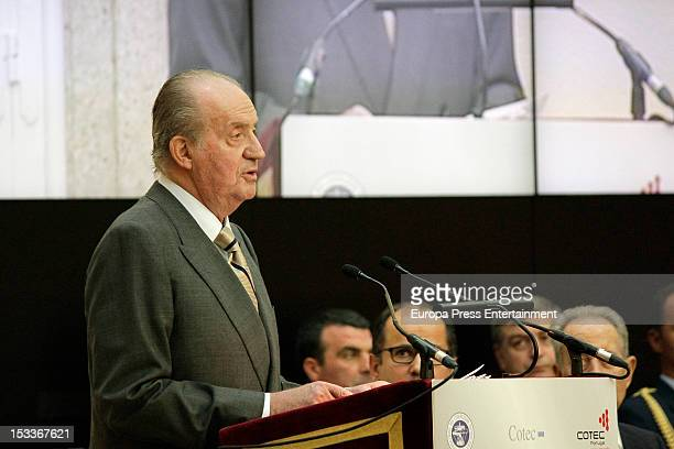 King Juan Carlos of Spain attends COTEC Europa Meeting at Palacio El Pardo on October 3 2012 in Madrid Spain