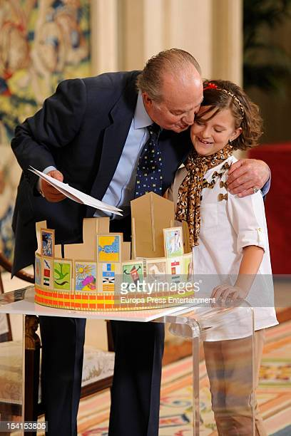 King Juan Carlos of Spain attends 'Que Es Un Rey Para Ti' school competition winners at Zarzuela Palace on October 15, 2012 in Madrid, Spain.