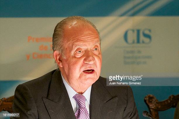 King Juan Carlos of Spain attends Sociology and Science Politics 2012 Awards at Zurbano Palace on February 12 2013 in Madrid Spain