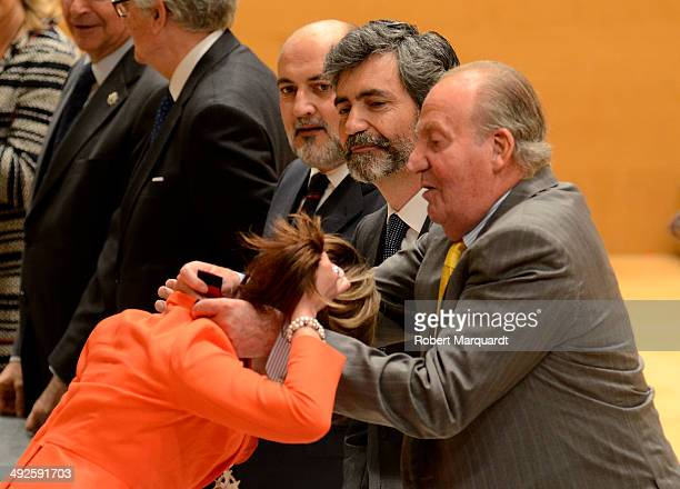 King Juan Carlos of Spain attends the '2014 Judiciary Degree' promotion ceremony at the L'Auditori on May 21 2014 in Barcelona Spain