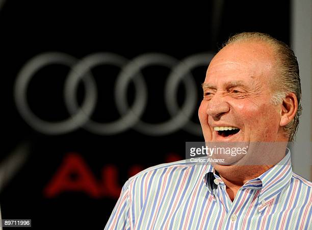 King Juan Carlos of Spain attends the 28th Copa del Rey Mapfre Audi Sailing Cup Awards Celebration at Ses Voltes Cultural Center on August 8 2009 in...