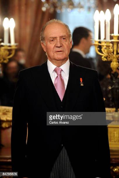 King Juan Carlos of Spain attends the annual Foreign Ambassadors Reception, at The Royal Palace on January 15, 2008 in Madrid, Spain.