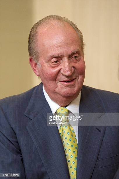 King Juan Carlos of Spain attends the board meeting COTECT Foundation for Technological Innovation at the Zarzuela Palace on July 8 2013 in Madrid...