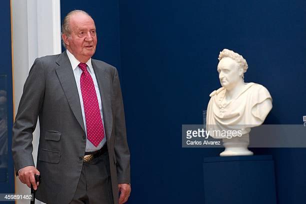 King Juan Carlos of Spain attends the El Retrato en las Colecciones Reales de Juan de Flandes a Antonio Lopez exhibition at the Royal Palace on...