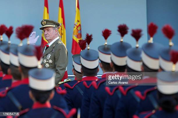 King Juan Carlos of Spain attends the National Day Military Parade on October 12, 2011 in Madrid, Spain.