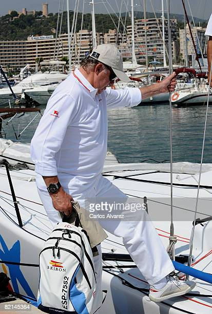 King Juan Carlos of Spain boards a yacht during the 27th Copa del Rey Mapfre Audi Sailing Cup on August 1 2008 in Palma de Mallorca Spain