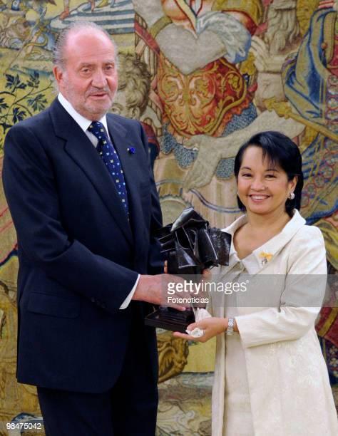 King Juan Carlos of Spain delivers 'Don Quijote De La Mancha' International Award to President of Philippines Gloria Macapagal Arroyo, at Zarzuela...