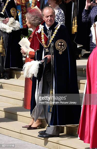 King Juan Carlos Of Spain, Dressed In Garter Robes, With His Wife, Queen Sofia Of Spain, Walking Down The Steps Of St George's Chapel After Attending...