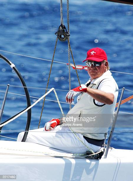 King Juan Carlos of Spain during the first day of 22 Edition of Sailing Trophy Copa del Rey July 28 2003 at the Club Nautico in Palma de Mallorca...