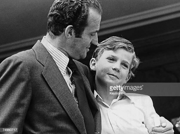 King Juan Carlos of Spain enjoys a relaxing weekend at the Zarzuela Palace with his young son Felipe, 30th June 1978.