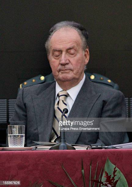 King Juan Carlos of Spain gets sleep during COTEC Europa Meeting at Palacio El Pardo on October 3 2012 in Madrid Spain