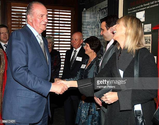 King Juan Carlos of Spain greets Lady Pippa Blake at the Maritime Museum on June 22 2009 in Auckland New Zealand The Royal couple are undertaking two...