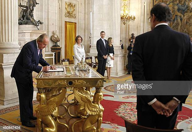 King Juan Carlos of Spain, in the presence of Queen Sofia of Spain, Prince Felipe of Spain, Princess Letizia of Spain and Prime Minister of Spain...