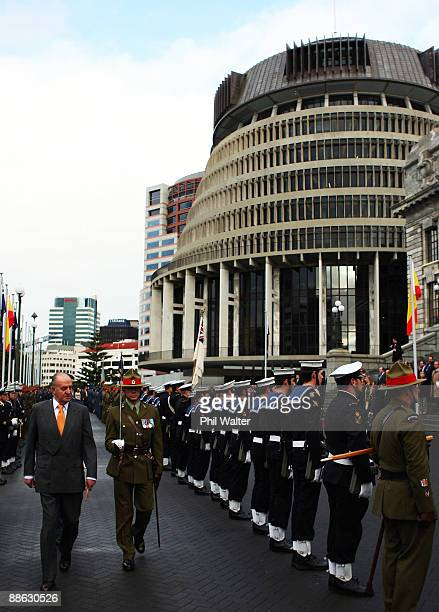 King Juan Carlos of Spain inspects a guard of honour outside Parliament during a visit to New Zealand on June 23 2009 in Wellington New Zealand The...