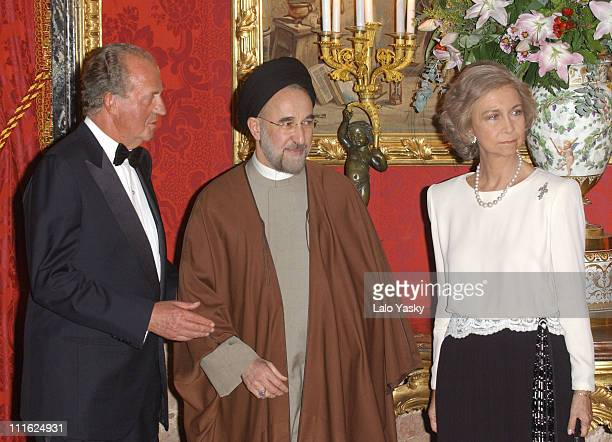King Juan Carlos of Spain Iranian President Mohamed Jatami and Queen Sofia