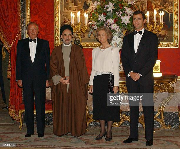King Juan Carlos of Spain Iranian President Mohamed Khatami Queen Sofia and Prince Felipe attend a reception in honor of Iranian President at Royal...
