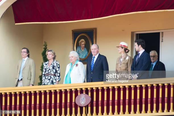 King Juan Carlos of Spain is seen attending bullfights at his last institutional public appearance in Aranjuez bullring with Fernando Gomez Acebo...