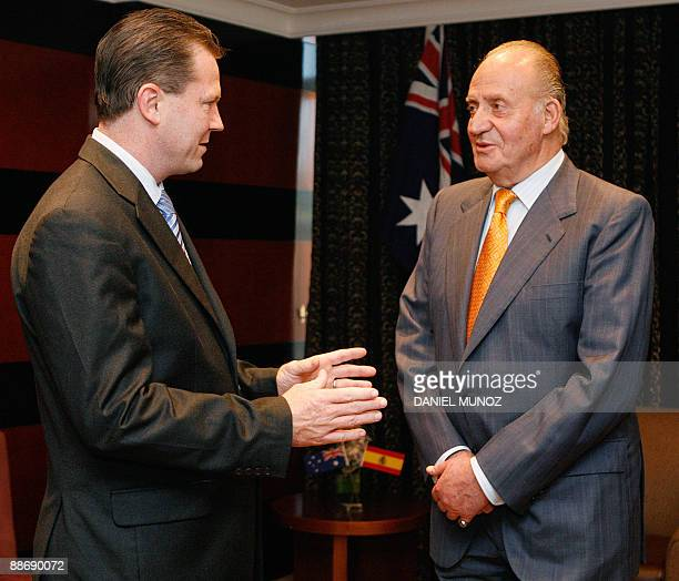 King Juan Carlos of Spain listens to New South Wales Premier Nathan Rees in Sydney on June 26 2009 King Carlos is on the last day of a threeday state...