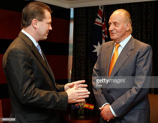 King Juan Carlos of Spain listens to New South Wales Premier Nathan Rees June 26 2009 in Sydney Australia The Royal couple met with the Prime...