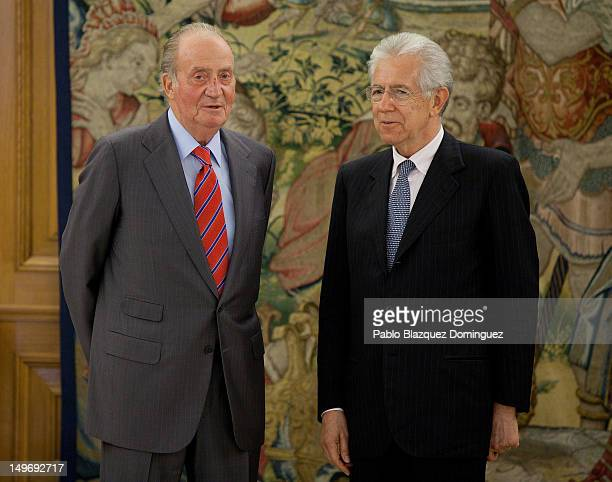 King Juan Carlos of Spain meets Italian Prime Minister Mario Monti at Zarzuela Palace on August 2, 2012 in Madrid, Spain.