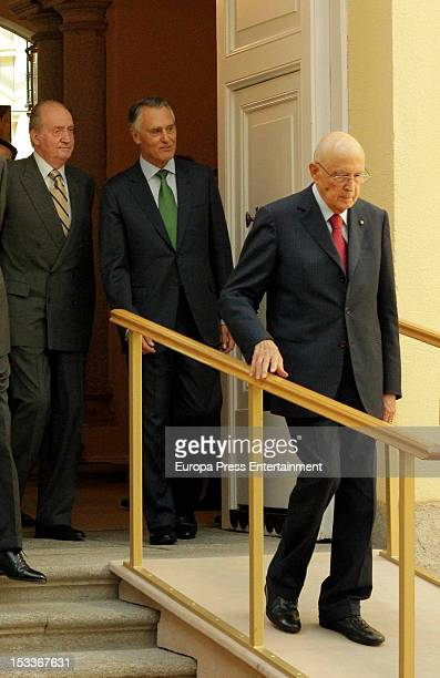 King Juan Carlos of Spain of Spain Anibal Cavaco Silva and Giorgio Napolitano attend COTEC Europa Meeting at Palacio El Pardo on October 3 2012 in...