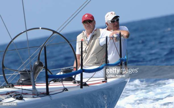 """King Juan Carlos of Spain on board of """"Bribon"""" during the 28th Copa del Rey Mapfre Audi Sailing Cup on August 4, 2009 in Mallorca, Spain."""