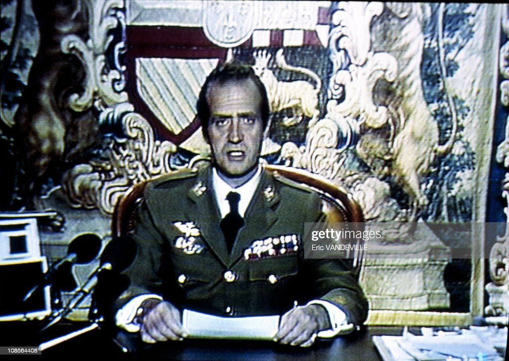 King Juan Carlos of Spain on TV after the Coup in Madrid, Spain on February 23th, 1981. : News Photo