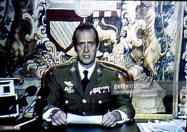 King Juan Carlos of Spain on TV sending out a message to condemn the coup attempt against him in Madrid, Spain on February 23th, 1981.
