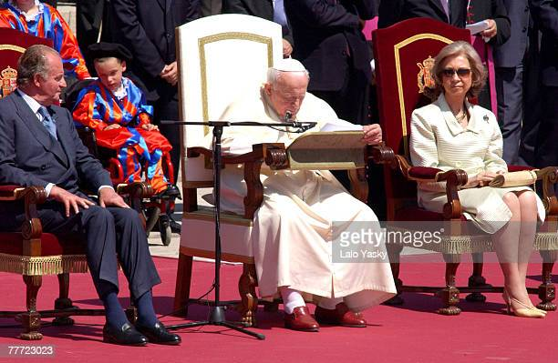 King Juan Carlos of Spain Pope John Paul II and Queen Sofia of Spain
