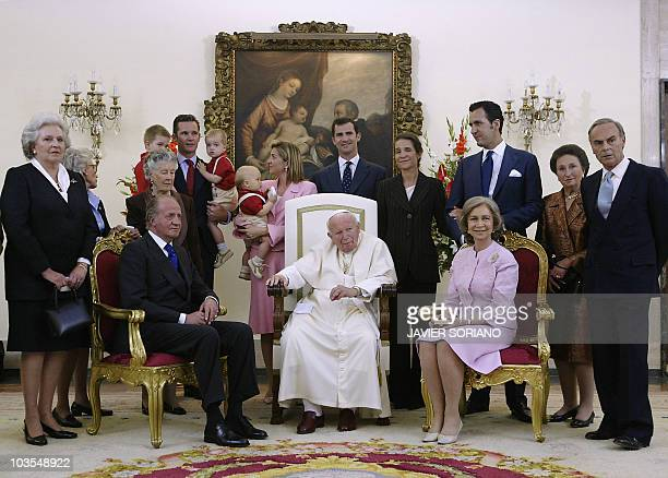 King Juan Carlos of Spain Pope John Paul II Queen Sofia Juan Carlos' sister Infanta Pilar Inaki Urdangarin holding his children Juan Valentin and...